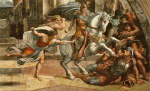 Raffaello, Cacciata di Eliodoro dal Tempio, dettaglio (da Wikipedia)
